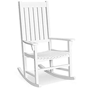 Wood Rocking Chair Rocker High Back Garden Seat Indoor Patio White-Rocking Chair-Rocking Chair for Nursery-Baby Rocker-Glider Rocker with Ottoman-Glider Rocker-Rocker Recliner