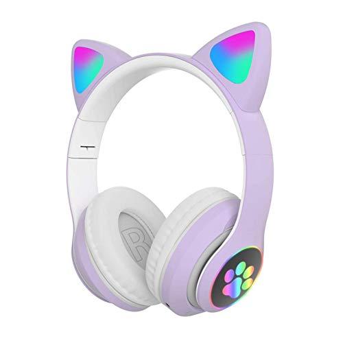 POHOVE Süß Stereo Gaming Headset mit Mikrofon, Katze Ohr Mit LED Licht Blinkende Leuchtende Modisch Kabellos Bluetooth Leicht Selbstjustierend Über Ohr Kopfhörer Für Damen Kinder - Lila, Free Size