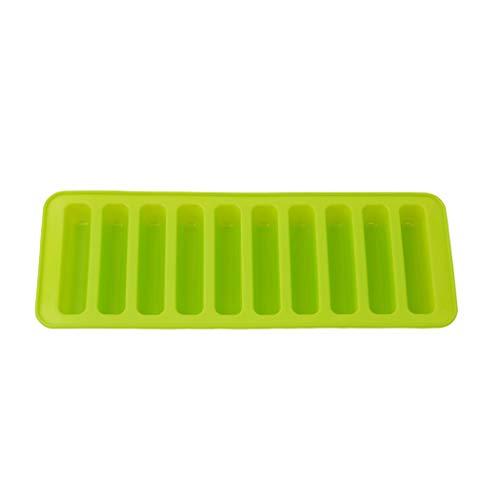 Eleusine Grün 10er Eiswürfel Silikon Form mit Langen Streifen für Stab-EIS Flaschen