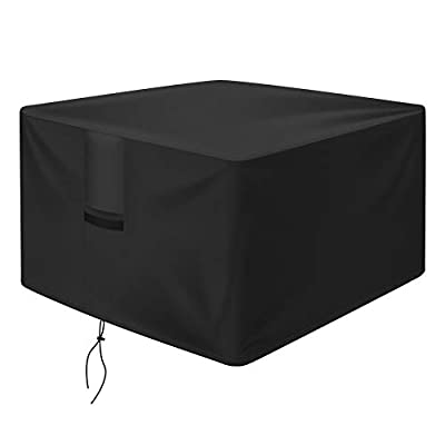 OKPOW Fire Pit Cover Square 30 Inch, 600D Heavy Duty Outdoor Firepit Covers Waterproof Windproof Anti-UV, Suitable for 28 Inch 29 Inch 30 Inch Fire Pit/Table, Black