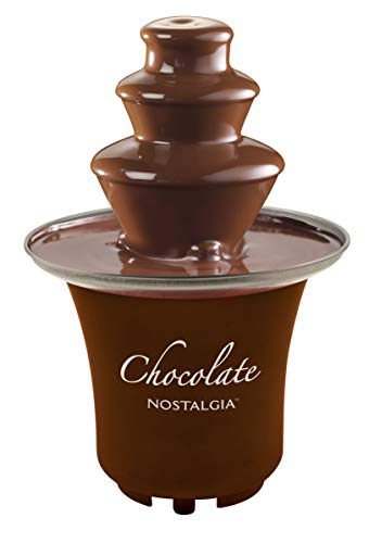 Nostalgia 8-Ounce Chocolate Fondue Fountain, Half-Pound Capacity, Easy to Assemble 3-Tiers, Perfect For Nacho Cheese, BBQ Sauce, Ranch, Liqueurs, Brown
