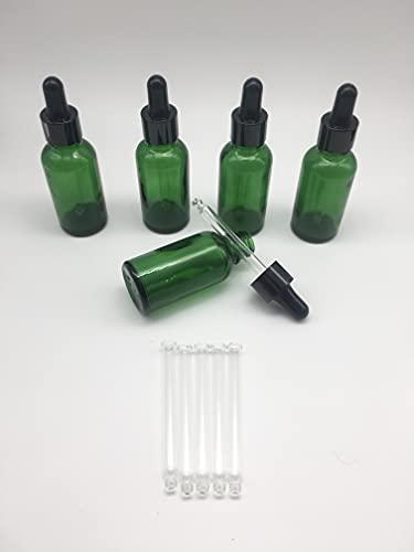 Nalunox- Cuentagotas de cristal-Capacidad 30ml- Botella con pipeta de cristal-5 unidades-frasco de vidrio-color verde