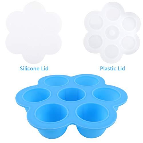 Zeattain Silikon Babynahrung Aufbewahrung Behälter Brei Einfrieren Behälter | 8.25'' Diamete mit Deckel Babykost und als Behälter für Babybrei| Gefrierschrank & Spülmaschinenfest( Blau)