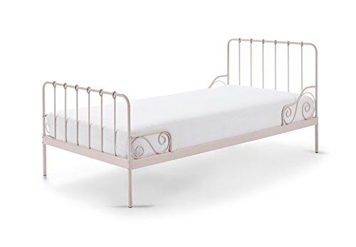 Vipack Alice Liegefläche 90 x 200 cm rosa Metallbett, Einzelbett, Kinderbett, Jugendbett, Single Bett, Metall, 94 x 205 x 90 cm
