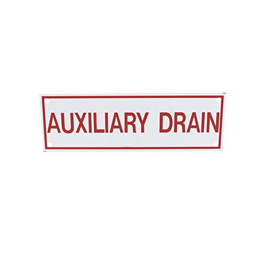 Auxiliary Drain Sign, Aluminum, 6