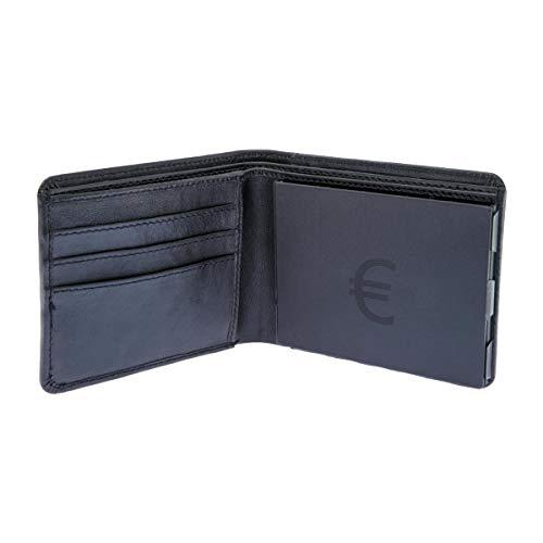 EiMiX Nappa Geldbeutel - für sortierte Münzen - echtes Vollrindleder Portmonee flach moderner Look Geldbörse Querformat - Made in Germany - schwarz