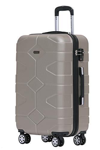 BEIBYE - TSA Schloß 2035 Hartschale Reisekoffer Koffer Handgepäck Trolley (Champagner, XL)