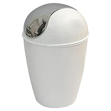 EVIDECO 6518100 Round Bathroom Floor Trash Can Waste Bin 4.5-liters/1.2-gal Color: White