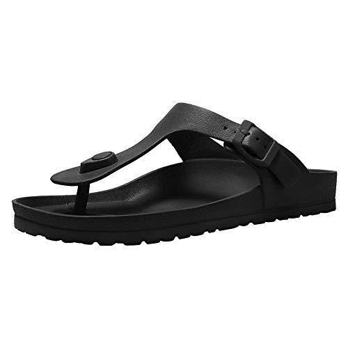 Damen Flache Sandalen Komfort Fußbett Verstellbare Rutschen Doppelschnalle Slip auf Eva HausschuhenE3BKEVAJJ-Black-37