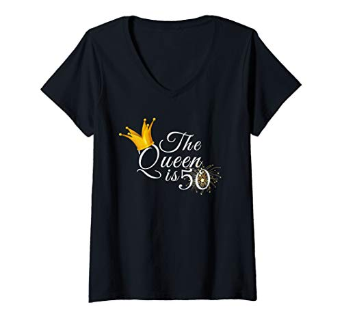 Womens 50th Birthday Gifts Ideas The Queen Is Fifty Made 1970 Party V-Neck T-Shirt