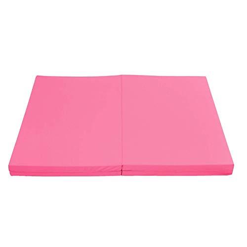 Belleashy Esterillas de gimnasia 4 plegables súper grandes de gimnasia Esterilla Yoga Gimnasia Ejercicio Pad Rosa para el hogar y el gimnasio entrenamiento