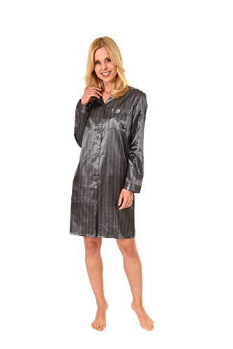 NORMANN WÄSCHEFABRIK Elegantes Satin Nachthemd mit Langen Ärmeln zum durchgeknöpfen - 61511, Farbe:Bordeaux, Größe2:48/50