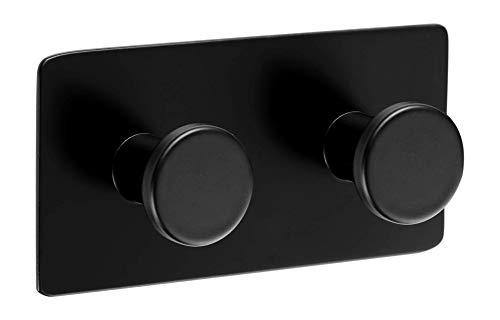Ambrosya® | Exclusivo toallero autoadhesivo de acero inoxidable | Cuarto de baño Paño cocina Sostenedor Toalla Gancho de la capa del estante (Acero Inoxidable (Negro), 1 x 2)