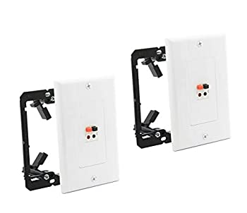 diyTech Premium Speaker Wall Plate - Spring Loaded Speaker Wire Wall Plates for Home Theater Wall Speakers -  2 Pack White w/Bracket