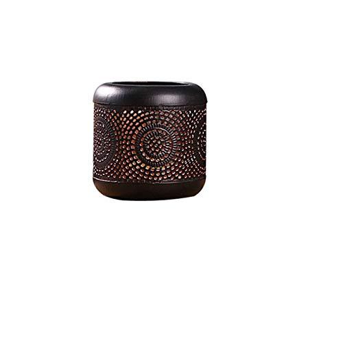 JEOSNDE Número de tamaño Portavelas Hueco Floral Cilíndrico Tealight Candelabro Estilo Chino Retro Decoración de Hierro Forjado (Size : Small)