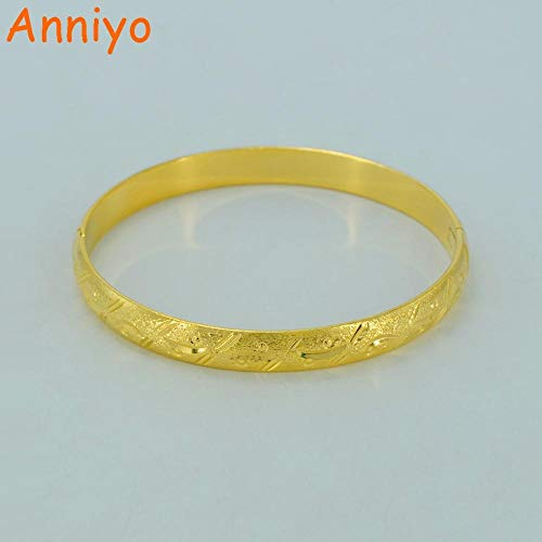 NCDFH 6.3cm and Openable Bangles for Women Gold Color Jewelry Ethiopian Bracelet Africa Arab Mom Gift
