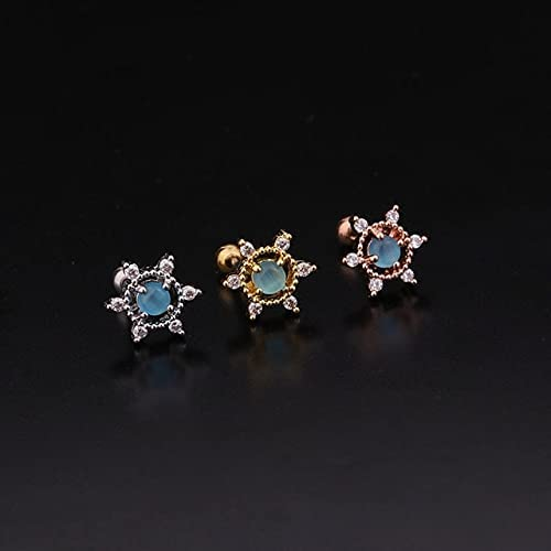 TonyJameJPStore Korean Cz Cartilage Stud Earring for WomenColorful Crystal Stainless Steel Tragus Conch Rook Helix Ear Piercing Jewelry