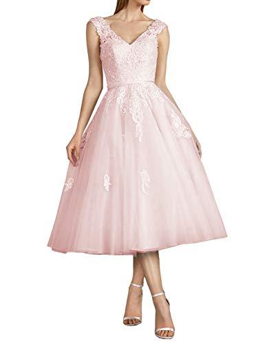 SongSurpriseMall Vintage V-Ausschnitt Tüll Brautkleider Hochzeitskleider Standesamt Abendkleider Ballkleider Wadenlang Rosa 44