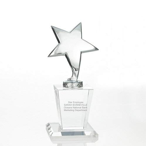 Baudville Engraved Trophy - Crystal Base - Reflective Silver Star on Top - Personalized Engraving Up to Three Lines and Pre-Written Verse Selection - Comes in Gift Box - Award for Employees