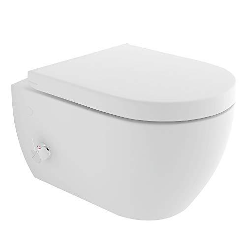 Spülrandloses-Dusch WC mit seitlich eingebauter Armatur inkl. Kalt-Warm Wasser Anschluss | Quick-Release D-Form WC-Sitz mit Absenkautomatik + Anschluss-Schläuche für die Taharet-Funktion