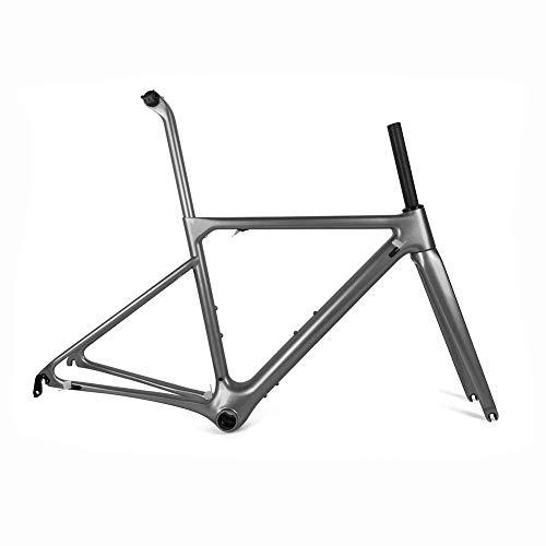 Vollcarbon rennrad rahmen carbon rennrad rahmen super leicht ein stück form bb86 zyklus rahmenset (grau),56cm