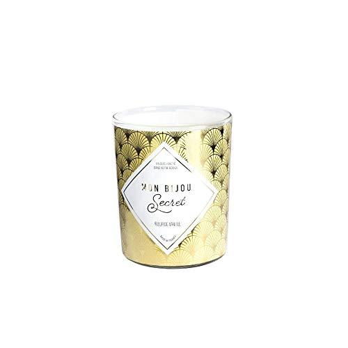 Mon Bijou Secret - Candela gioiello con profumo alla vaniglia, prodotta in Francia, dopo la combustione (40 ore), scopri il suo gioiello: anello regolabile dorato