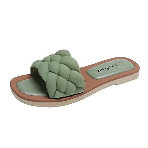 Sandalias de Punta Cuadrada para Mujer, Verano Sexy Estilo Diario Tejido de Cuero Tacón Plano Ligero Cómodo Deslizador Adaptable Zapatillas de Playa,Green-40