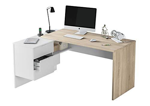 Mobelcenter - Mesa de Oficina Modelo Office - Mesa despacho Ordenador con 3 cajones - Color Blanco Artik Mate y Roble Canadian - 1150