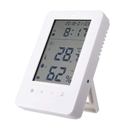 Ygddwecljnz Digitale reiswekker thermometer op batterijen, alarm, temperatuur- en luchtvochtigheidsmeter, eenvoudig thuis in de buitenlucht instellen