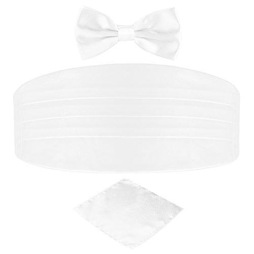 DonDon 3er Set Herren Kummerbund Fliege Einstecktuch farblich abgestimmt glänzend für feierliche Anlässe - Weiß