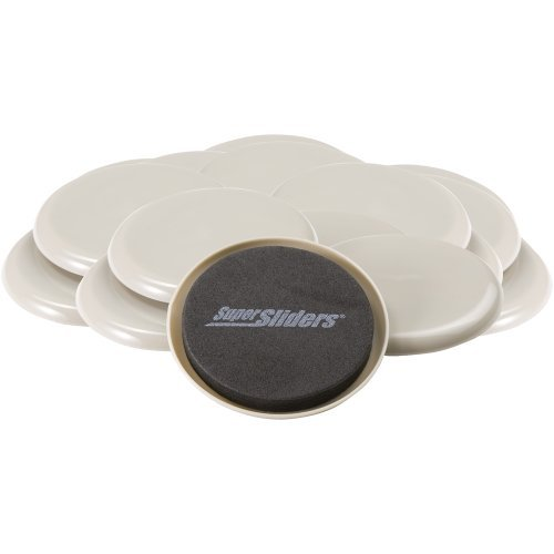Super Sliders Round Movers for Furniture on Carpeted Surfaces - Reusable - - 3?-inch Diameter by Super Sliders