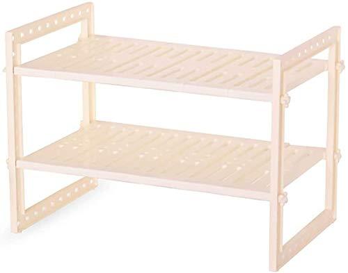 DJSMsnj Organizador de almacenamiento de cocina, estante extensible de 2 niveles, apto para cocina, baño, gabinetes de cubiertos