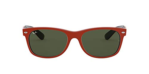 Ray-Ban New Wayfarer Lentes oscuros, Top Rubber Red On Shiny Black (646631), 55 mm Unisex Adulto