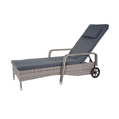 Mendler Poly-Rattan Sonnenliege Carrara, Relaxliege Gartenliege Liege, Alu ~ grau, Kissen dunkelgrau