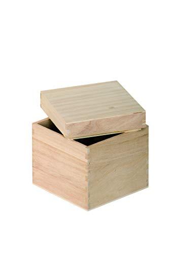 Artemio VIBB19 - Caja Cubo para decoración, Madera, Beige, 12 x 12 x 12 cm