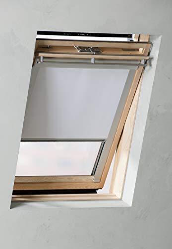Thermo Dachfensterrollo Farbe Weiss verdunkelnd mit Seitenführungsschienen Farbe Silber - Breite 38 bis 117 cm, Länge 54-136 cm (61,3 x 116,0 cm)