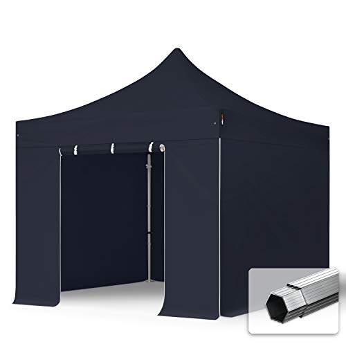 TOOLPORT Faltzelt Faltpavillon Professional 3x3 m mit 4 Seitenteilen (ohne Fenster) - ALU Pavillon Partyzelt schwarz