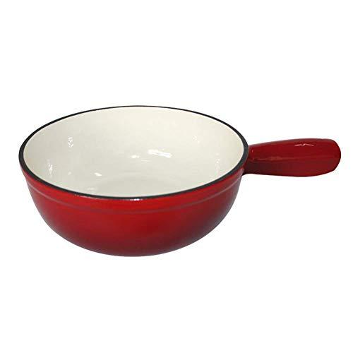 TCWDX Roter Gusseisentopf, Käse-Schokoladen-Fondue-Set, enthält 6 Gabeln, 22 cm A.