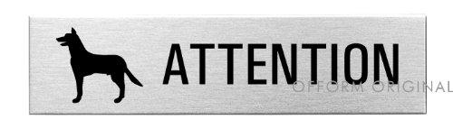 OFFORM Plaque de Porte en Acier INOX brossé Attention au Chien 160x40 mm No.27185