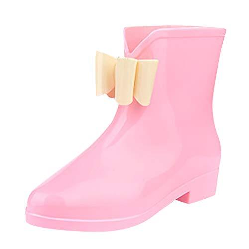 Dorical Damen Regenstiefel Gummistiefel Kurzschaft Stiefel Kurzschaft Ankle Stiefeletten Gummistiefeletten Blockabsatz Boots Rain Schuhe mit Bow,Gr 36-40(Rosa,39 EU)