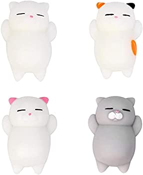 4 Soft Silicone Kawaii Kitties Cute Mochi Squishy Cat Squeeze Healing Fun Kids Kawaii Toy Stress Reliever Decor for Kids & Adults Best Teen Girls Teenage Boys & Tweens Birthday Present