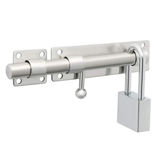 Sayayo Cerradura de puerta de seguridad con pestillo de puerta deslizante con orificio para candado de 180 mm de longitud, acabado cepillado de acero inoxidable sólido (no incluye candado)