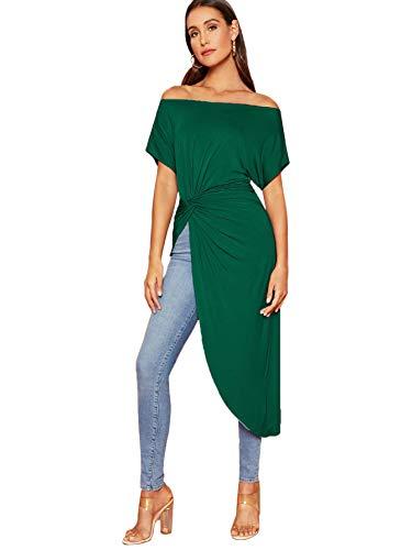 SheIn Women's Elegant Asymmetrical Twist Front Off Shoulder Top Plain High Low Blouse Green Medium