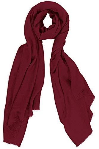 Sciarpa in Cachemire Made in Kashmir India (confezione regalo) Smart Merino Wool Silk Cachemire Blend Sciarpa Lunga Estremamente Morbida Donna Uomo Pashmina Autunno Inverno 20/21 Mirtillo Bordeaux