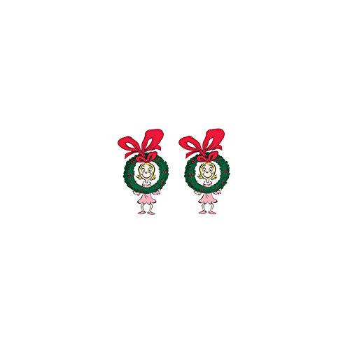 2020 nuevos pendientes de tuerca de Navidad Grinch lindos pendientes de acrílico resina Shrinky Dinks epoxi joyería regalos