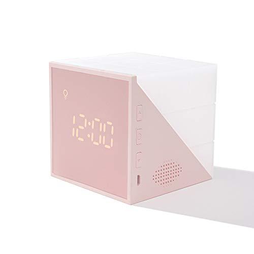 MultifuncióN Inteligente ElectróNico Despertador Cuenta Regresiva Luces De Colores Control De Voz Luz De Noche Entrenamiento para Dormir Creatividad NiñO Estudiante Luz De Despertador Colorida,Pink