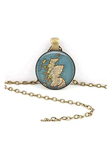 Halskette mit Anhänger Schottland-Karte, Vintage-Design, handgefertigt, Geschenk