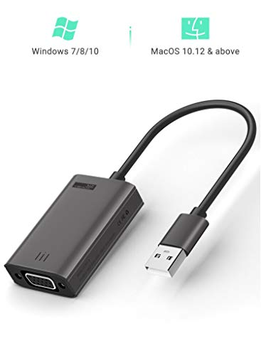 Yehua USB zu VGA Adapter Kompatibel mit Windows 7/8/10, MacOS 10.12, HD 1080P USB zu VGA Adapterkonverter mit Audioausgang für Laptop,HDTV