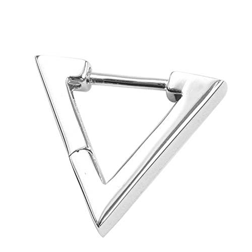 feichang Creativo triángulo pendientes para hombres Vintage Moda Punk Joyas Masculino Geométrica Negro/Plata Color Hip Hop Pendientes Hombre Stollen (Metal Color : Plata)
