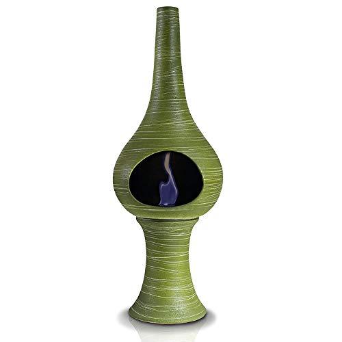 Camino a Bioetanolo da Pavimento in Ceramica 35x95 cm Ferazzoli Flute Verde Millerighe